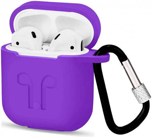 Чехол для AirPods силиконовый с карабином Фиолетовый, фото 2