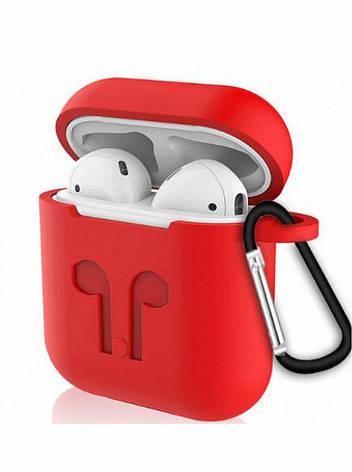 Чехол для AirPods силиконовый с карабином Красный, фото 2
