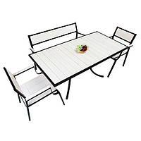 """Комплект меблів для літніх кафе """"Брістоль"""" стіл (160*80) + 2 стільця + лавка Білий, фото 1"""