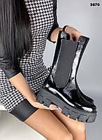 Женские кожаные лаковые демисезонные высокие ботинки 39р чёрный, фото 1