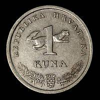 Монета Хорватии 1 куна 1995 г. Западный соловей