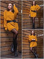 Вязаное платье туника, теплое, однотонное Горчица, фото 1