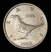 """Монета Хорватии 1 куна 1999 г. Западный соловей. """"5 лет национальной валюте"""""""
