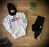 Спортивный костюм мужской зимний Supreme черно-белый | комплект Суприм теплый на флисе Худи + Штаны