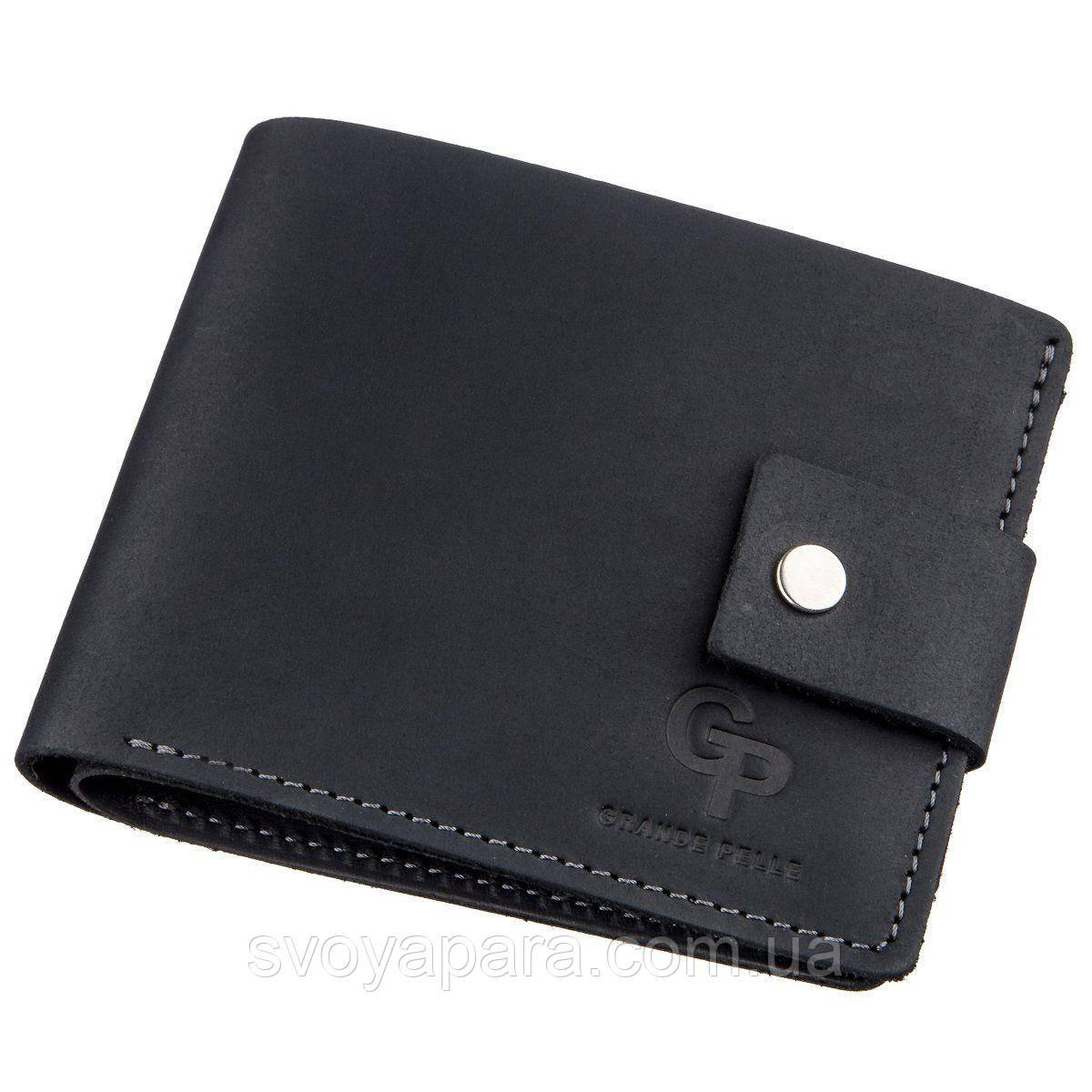 Компактное мужское портмоне в винтажном стиле GRANDE PELLE 11228 Черное