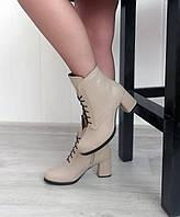 Бежевые кожаные ботинки на каблуке, фото 1