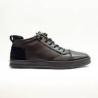 Ботинки зимние мужские повседневные натуральной кожи с натуральным мехом  черные