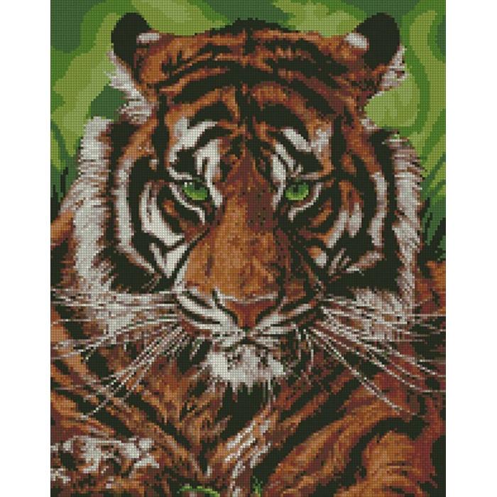 """Набір алмазного живопису на полотні з підрамником ІДЕЙКА """"Непереможний тигр"""", 40х50см, АМ 6140"""
