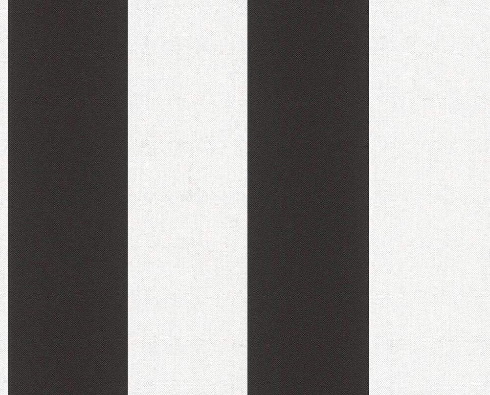 Немецкие обои в широкую черно белую полоску 343213, моющиеся виниловые на флизелиновой основе