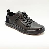 Туфли мужские повседневные весна/осень из натуральной кожи черные