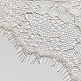 Ажурне французьке мереживо шантильї (з віями) лляного відтінку, шир.22 см, довжина купона 1,40 м., фото 3
