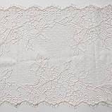 Ажурне французьке мереживо шантильї (з віями) лляного відтінку, шир.22 см, довжина купона 1,40 м., фото 4