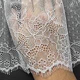 Ажурне французьке мереживо шантильї (з віями) лляного відтінку, шир.22 см, довжина купона 1,40 м., фото 5