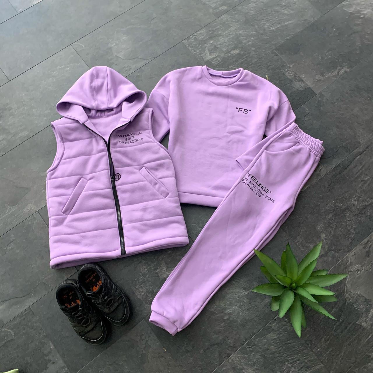 Женский спортивный костюм - тройка утепленный флисом - свитшот, штаны и жилет 66051149Е