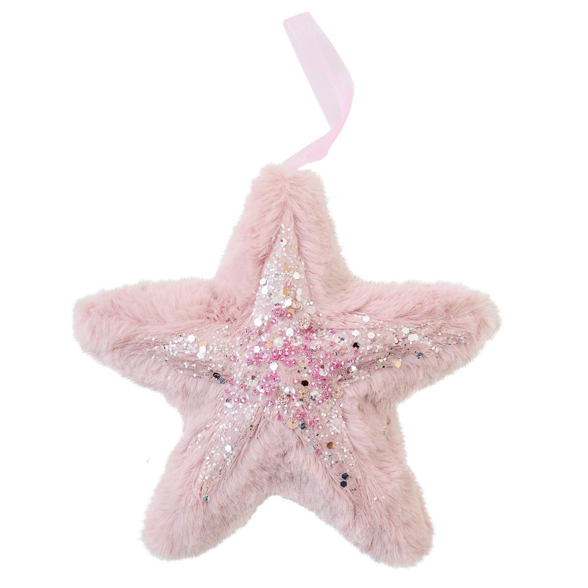 Зірка Yes! Fun пухнаста рожева з декором, 16*16 см