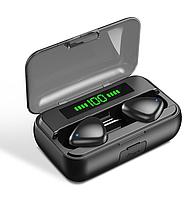 Беспроводные сенсорные наушники гарнитура в кейсе с павербанком с микрофоном TWS S8 Bluetooth Черные