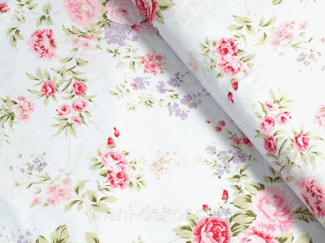 Сатин (бавовняна тканина) піоновидна троянда