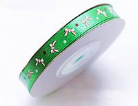 Новорічна Атласна стрічка Зелений з малюнком 0.9 см