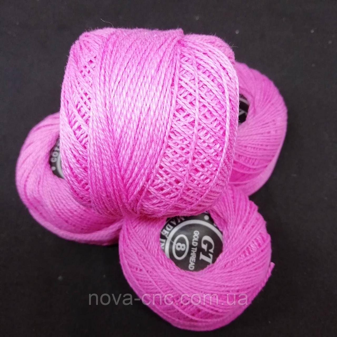 Хлопок Пряжа Ирис №8/ 10 грамм розовый Упаковка 10 штук Тон 402