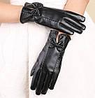 Женские кожаные тонкие перчатки рукавицы Деми Флис Черный Осень П-2