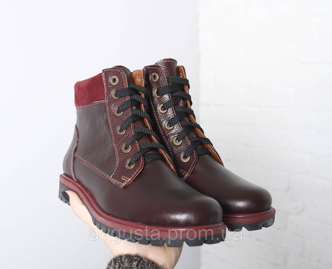 VM-Villomi Зимние кожаные бордовые ботинки