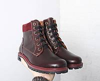 VM-Villomi Зимние кожаные бордовые ботинки, фото 1
