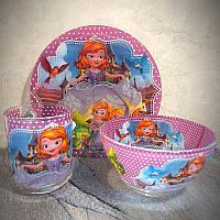 Набор детской посуды для девочек 3 предмета с Принцесса София и Друзья (A9551/2)