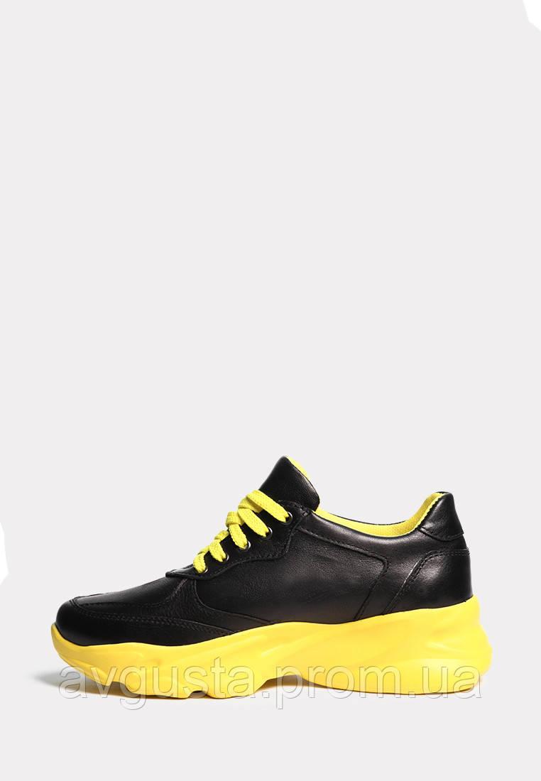 VM-Villomi Кожаные черные кроссовки на желтой подошве