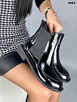 Женские кожаные лаковые демисезонные ботинки на низком ходу 40 р чёрный, фото 1