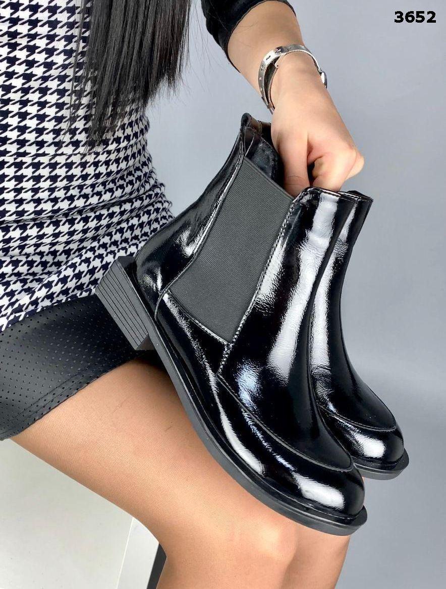 Женские кожаные лаковые демисезонные ботинки на низком ходу 40 р чёрный