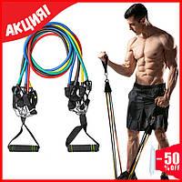 Набор эспандеров для упражнений многофункциональный 5 жгутов, эспандер трубчатый, резинки для фитнеса