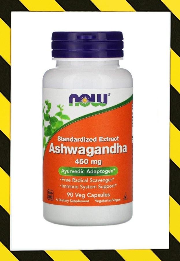 Now Foods, Ашвагандха, (витанолиды) Ашваганда 450 мг, 90 раст капсул