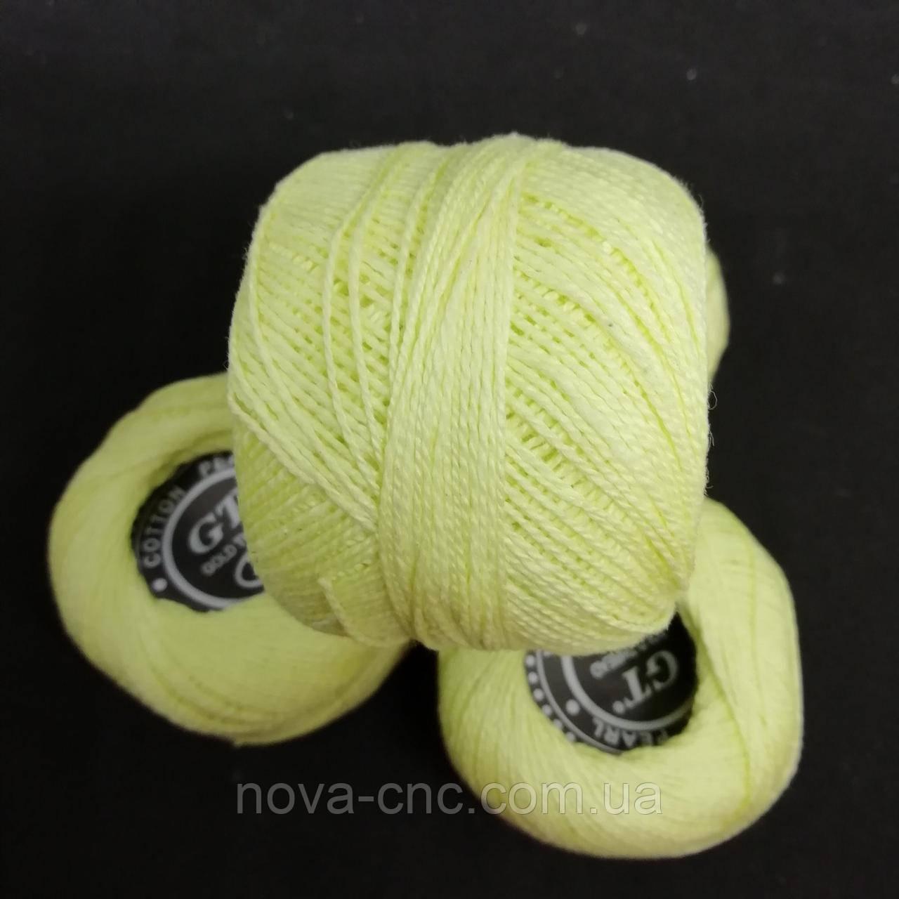 Хлопок Пряжа Ирис №8/ 10 грамм лимонный Упаковка 10 штук Тон 506