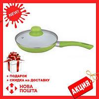 Сковорода антипригарная с крышкой Maestro MR-1201-28 зеленая | сковородка Маэстро, сотейник Маестро