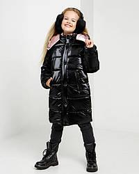 Модна зимове лакова куртка чорного цвтета для дівчинки