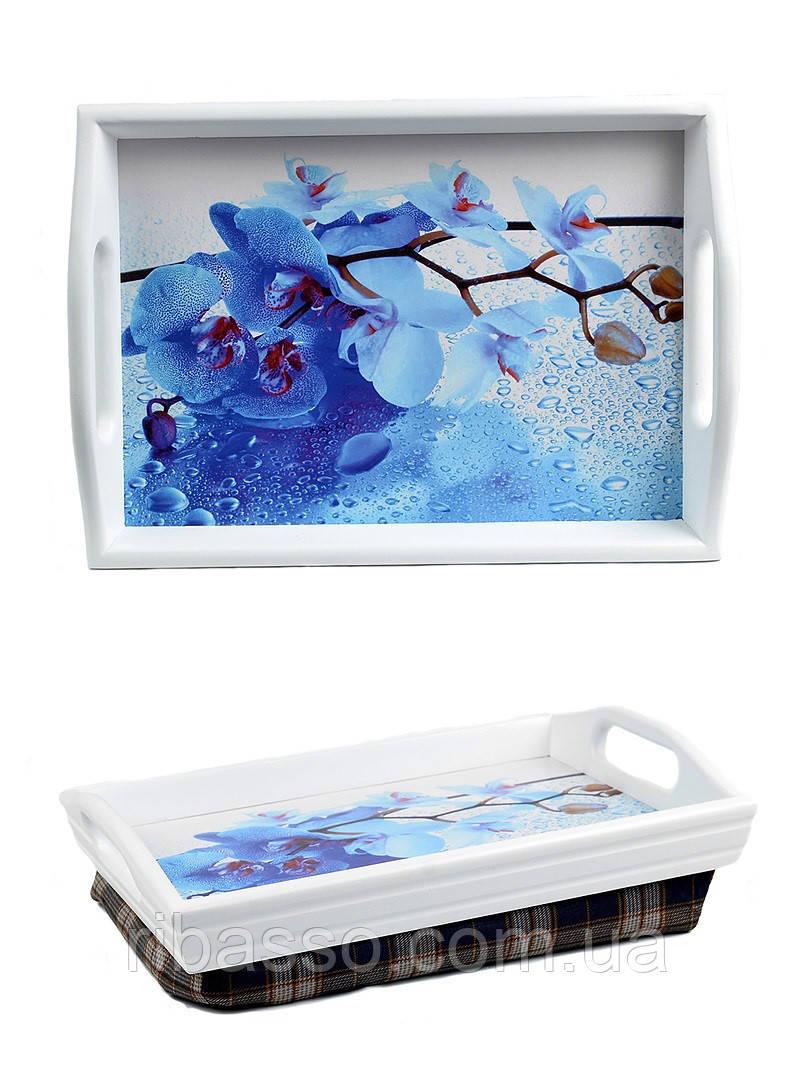 Поднос на подушке с ручками мини BST 040202 35*25 белый Снежные Орхидеи 48х33 см.