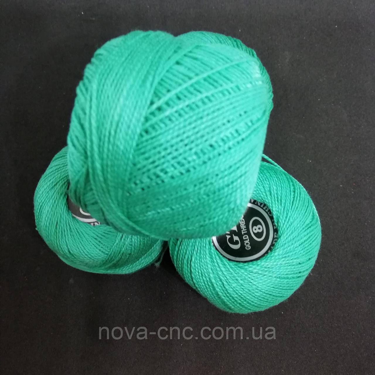 Хлопок Пряжа Ирис №8/ 10 грамм светло-зеленый Упаковка 10 штук Тон 606