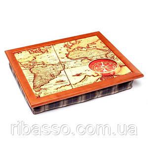 Поднос на подушке BST 710051 44*36 коричневый компас на карте