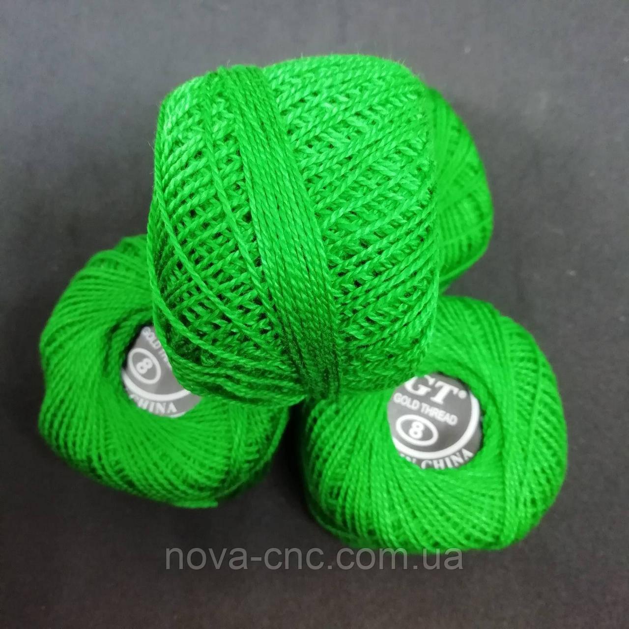 Хлопок Пряжа Ирис №8/ 10 грамм сочная зелень Упаковка 10 штук Тон б/н