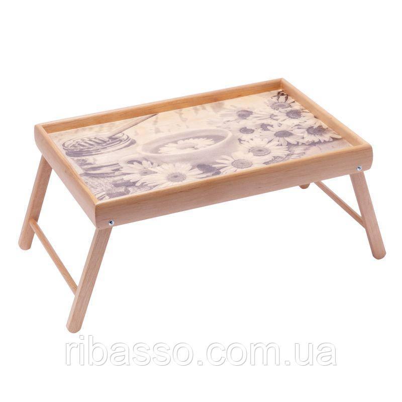 """Столик для завтрака на ножках мини BST 710075 """"Ромашка"""" 38×26 бесцветный"""