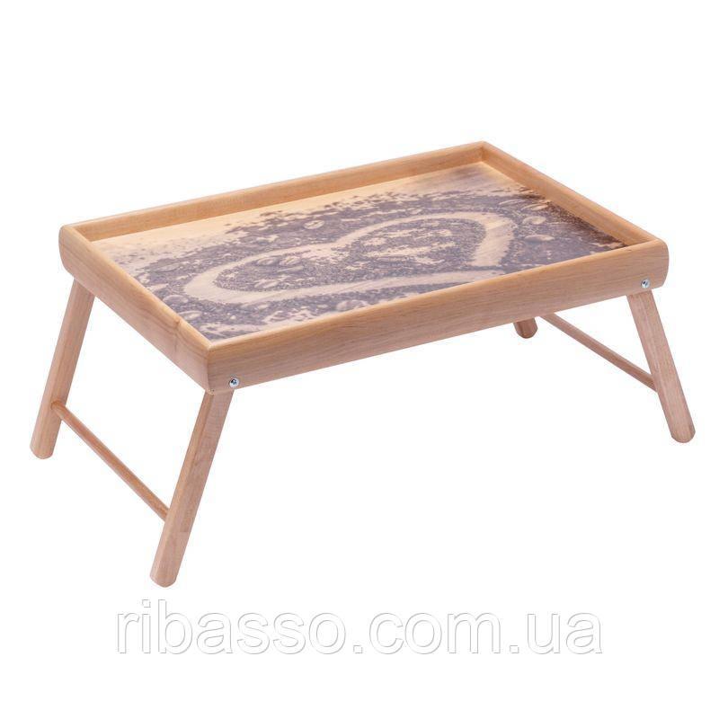 """Столик в кровать для завтрака на ножках мини BST 710077 """"Coffe heart"""" 38×26 бесцветный"""