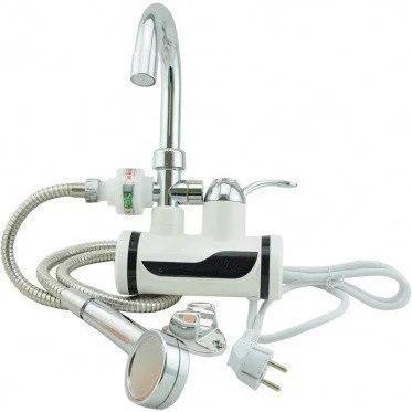 Мгновенный проточный электрический кран водонагреватель Delimano Делимано с душем боковое подключение