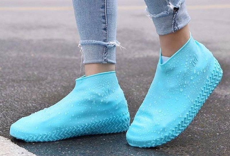Силиконовые водонепроницаемые бахилы для обуви многоразовые - голубые S