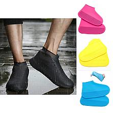 Силиконовые водонепроницаемые бахилы для обуви многоразовые - голубые S, фото 3