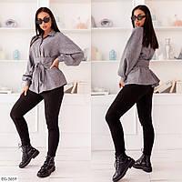 Стильная женская рубашка в деловом стиле с широким поясом больших размеров 48-58 арт 260