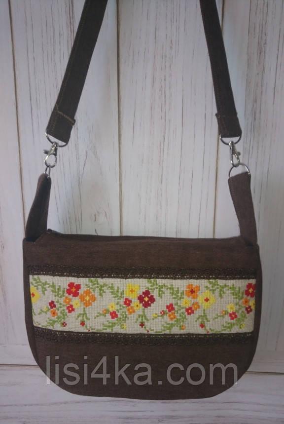 Малая тканевая коричневая сумка с вышивкой крестом цветы