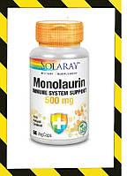 Solaray, Монолаурин,  Природный источник кокос 500 мг, 60 вегкапсул поддержка иммунной системы