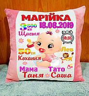 Подушка метрика для девочки, подарок на День Рождения. Плюшевая подушка с надписью