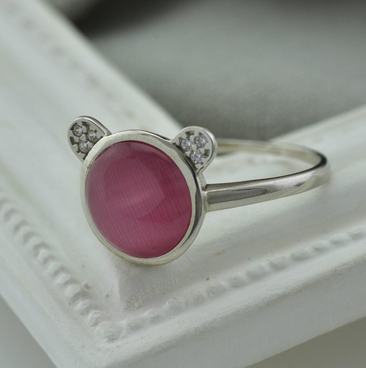 Серебряное кольцо размер 17 вставка розовый  улексит вес 2.3 г