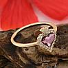 Кольцо Xuping с кристаллами Swarovski 83229 размер 19 ширина 11 мм вес 1.9 г цвет аметистовый  позолота 18К, фото 2